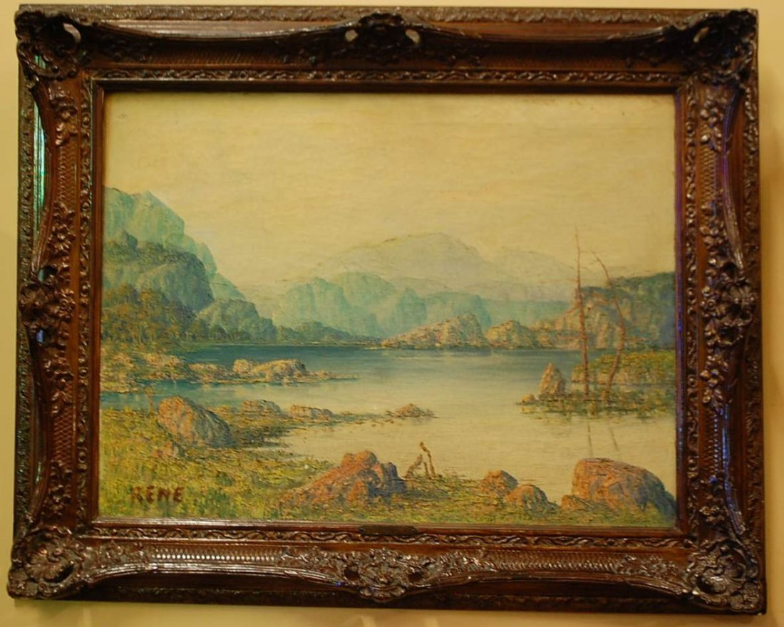 005: VINTAGE OIL ON CANVAS LANDSCAPE SIGNED RENE