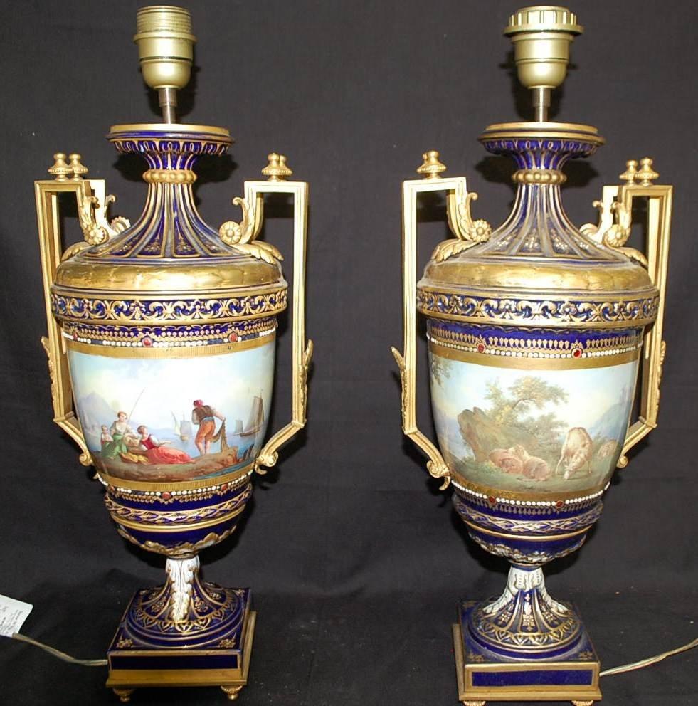 047: PR OF SEVRES SCENIC PORCELAIN LAMPS