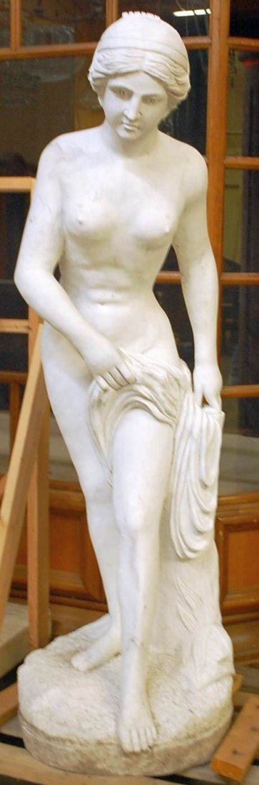 024: LIFESIZE HAND CARVED MARBLE NUDE GARDEN MAIDEN