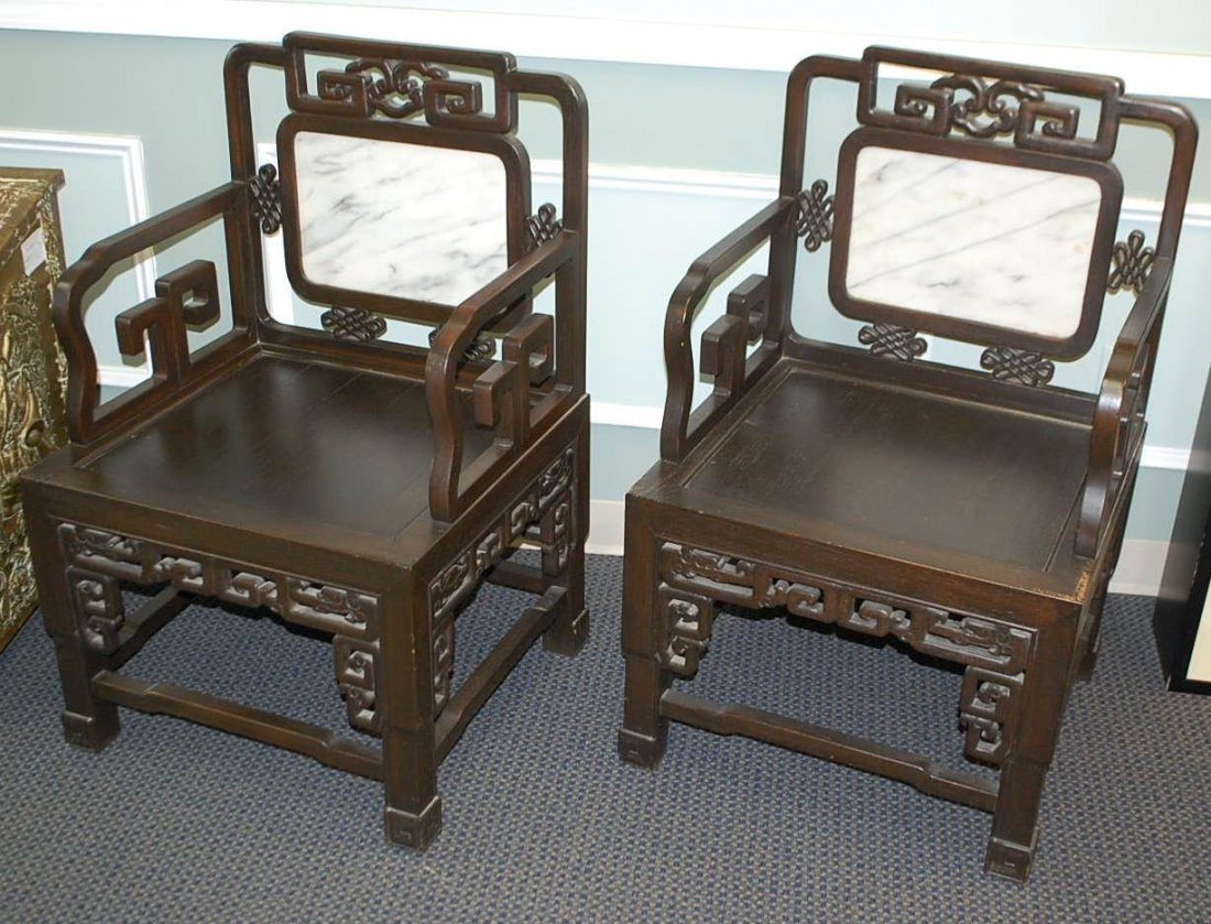 006: SET OF FOUR ROSEWOOD MARBLE INSET CHAIRS