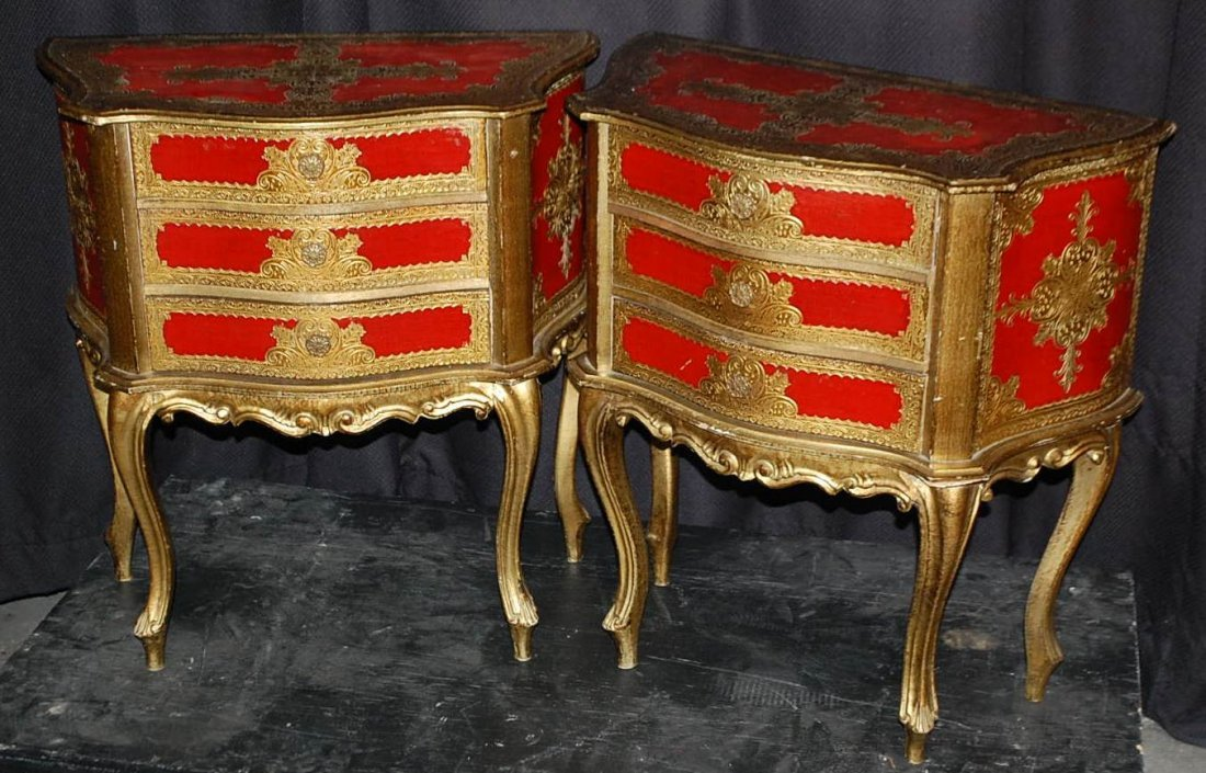 022: PAIR OF SMALL DECORATED ITALIAN COMMODES