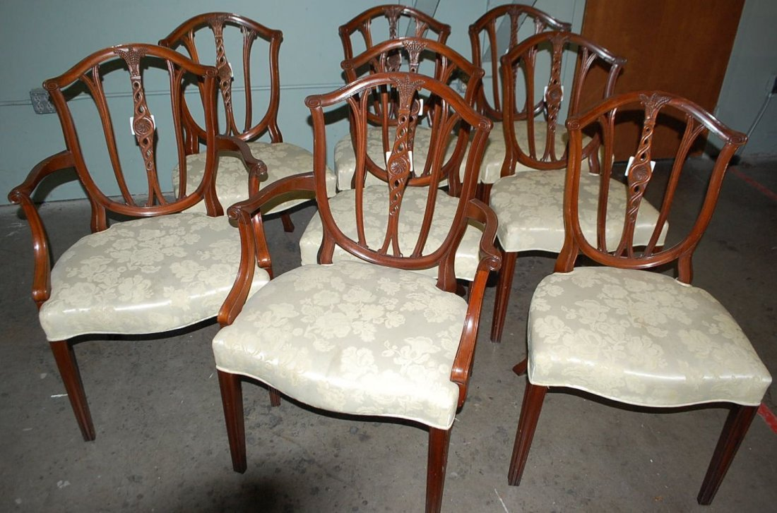 012: SET OF EIGHT BAKER DINING CHAIRS