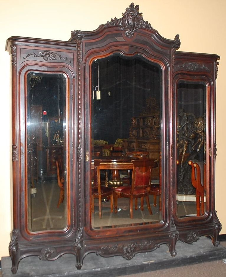 020: TRIPLE FRENCH ROSEWOOD ARMOIRE