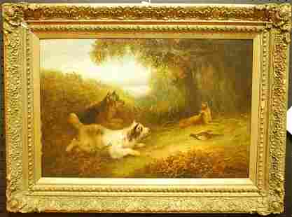 065: GEORGE ARMFIELD SMITH OIL ON CANVAS DOG PAINTING