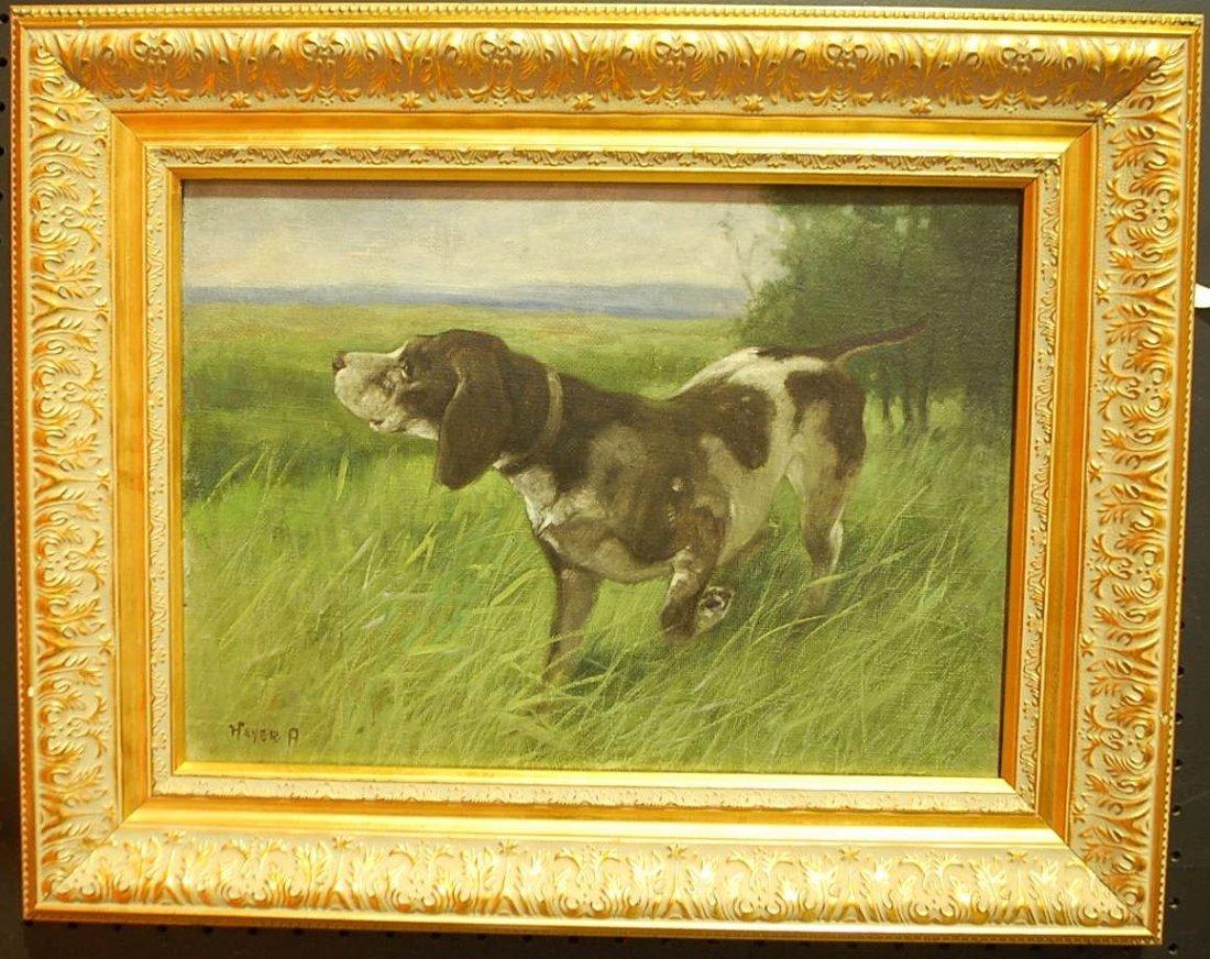 005: ARTHUR HEYER OIL ON CANVAS OF DOGS