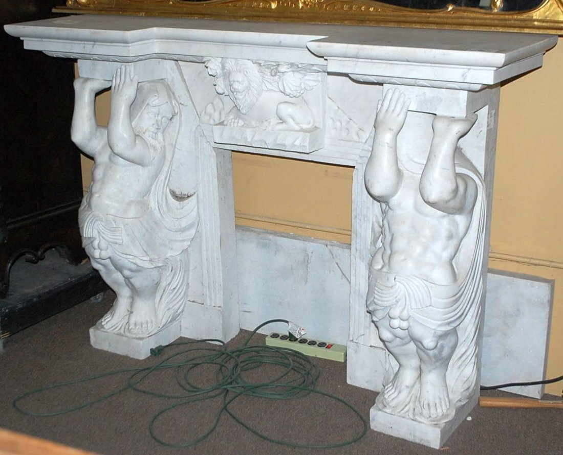 002: CARVED SOLID MARBLE ATLAS MANTEL