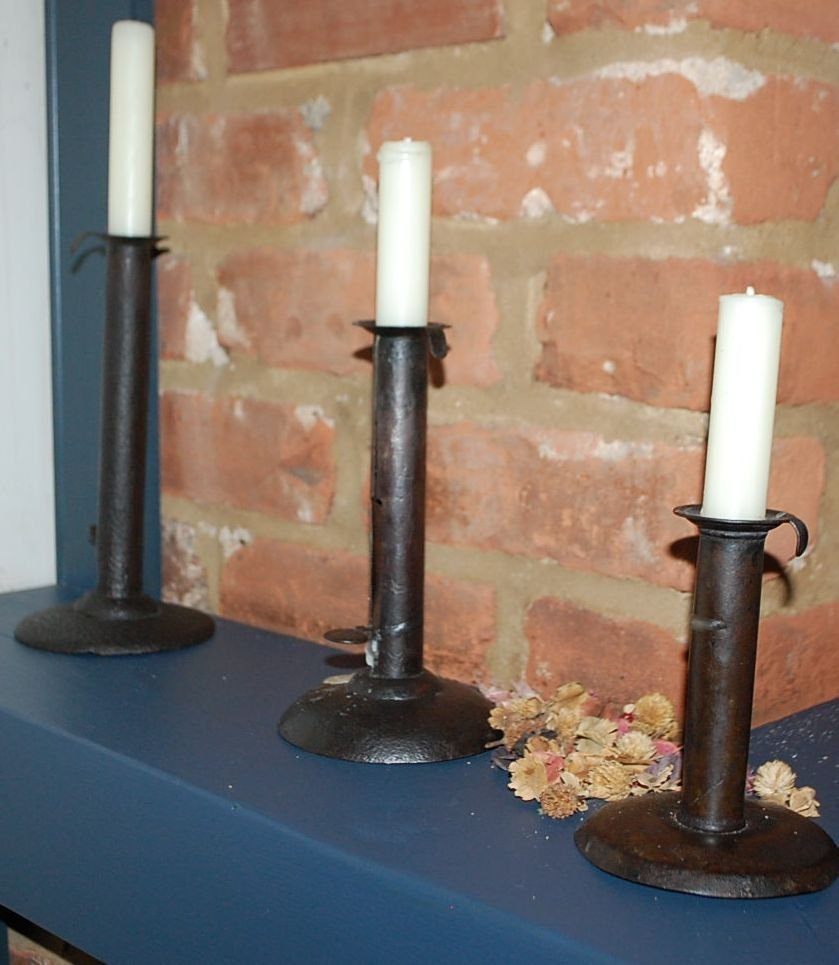 SET OF THREE EARLY CANDLESTICKS