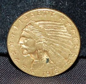 1913 US TWO/HALF DOLLAR GOLD COIN