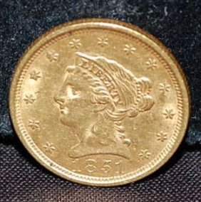 1851 US TWO/HALF DOLLAR GOLD COIN