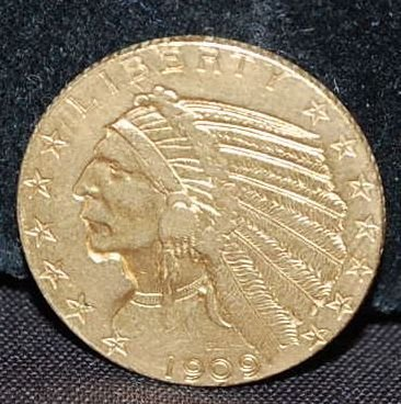 1909 US FIVE DOLLAR GOLD COIN