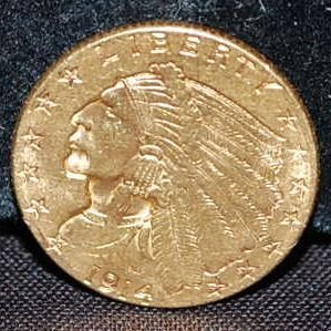 1914 D US TWO/HALF DOLLAR GOLD COIN