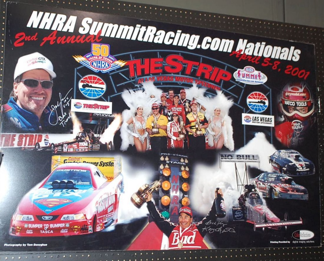 AUTOGRAPHED VEGAS NHRA POSTER 2001