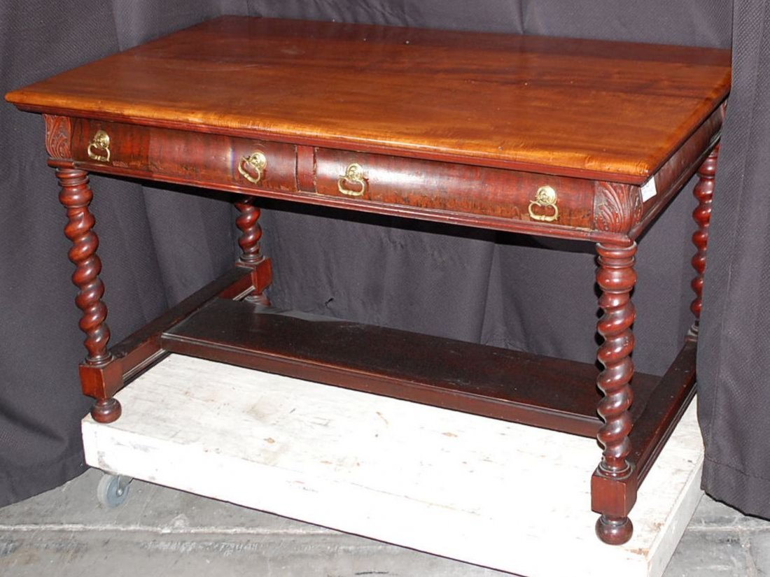 MAHOGANY BARLEY TWIST LIBRARY TABLE