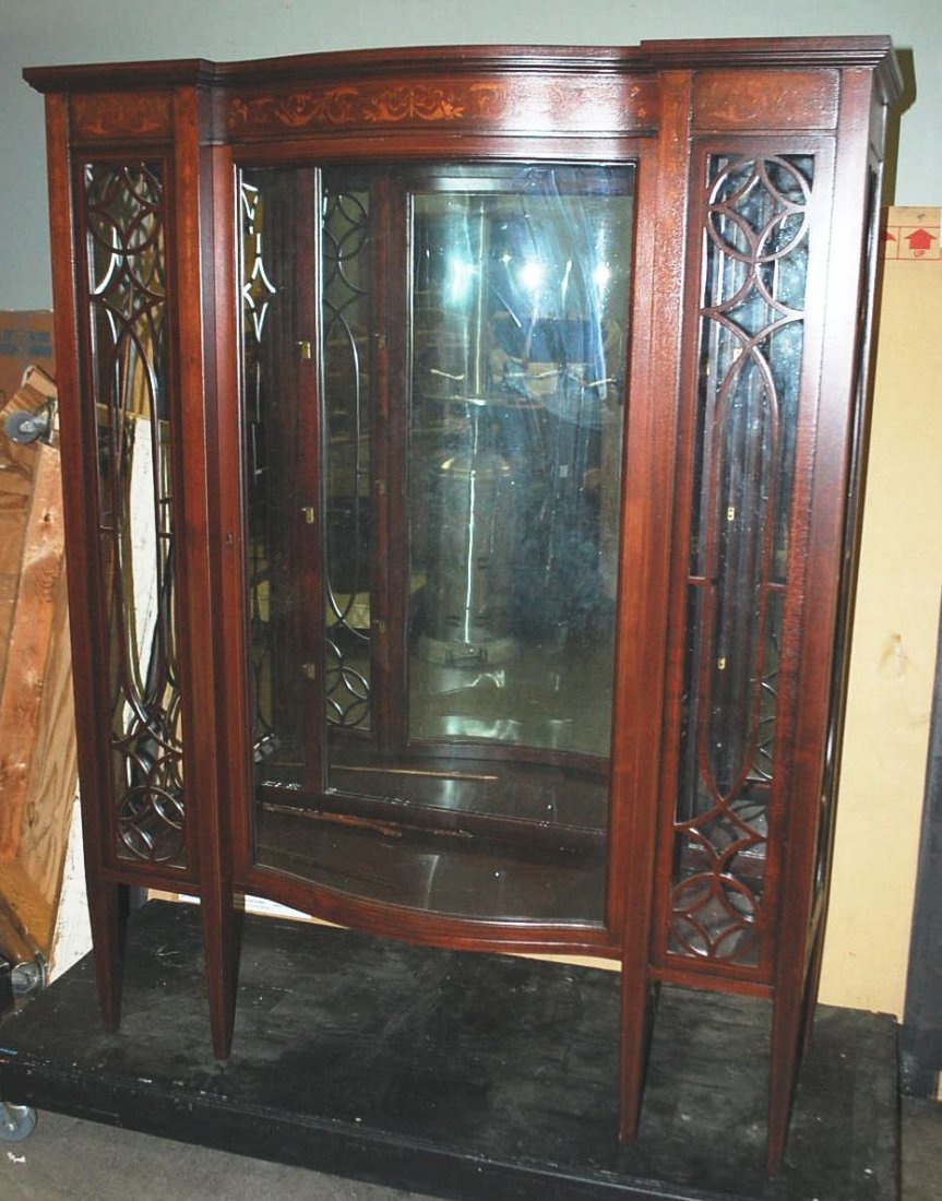 INLAID MAHOGANY BOW FRONT CHINA CABINET