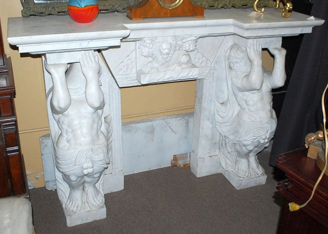 SOLID CARVED FIGURAL MARBLE MANTLE