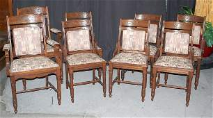 SET OF EIGHT VICTORIAN WALNUT DINING CHAIRS