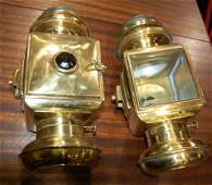PAIR OF SOLAR MODEL 933 BRASS CARRIAGE LAMPS
