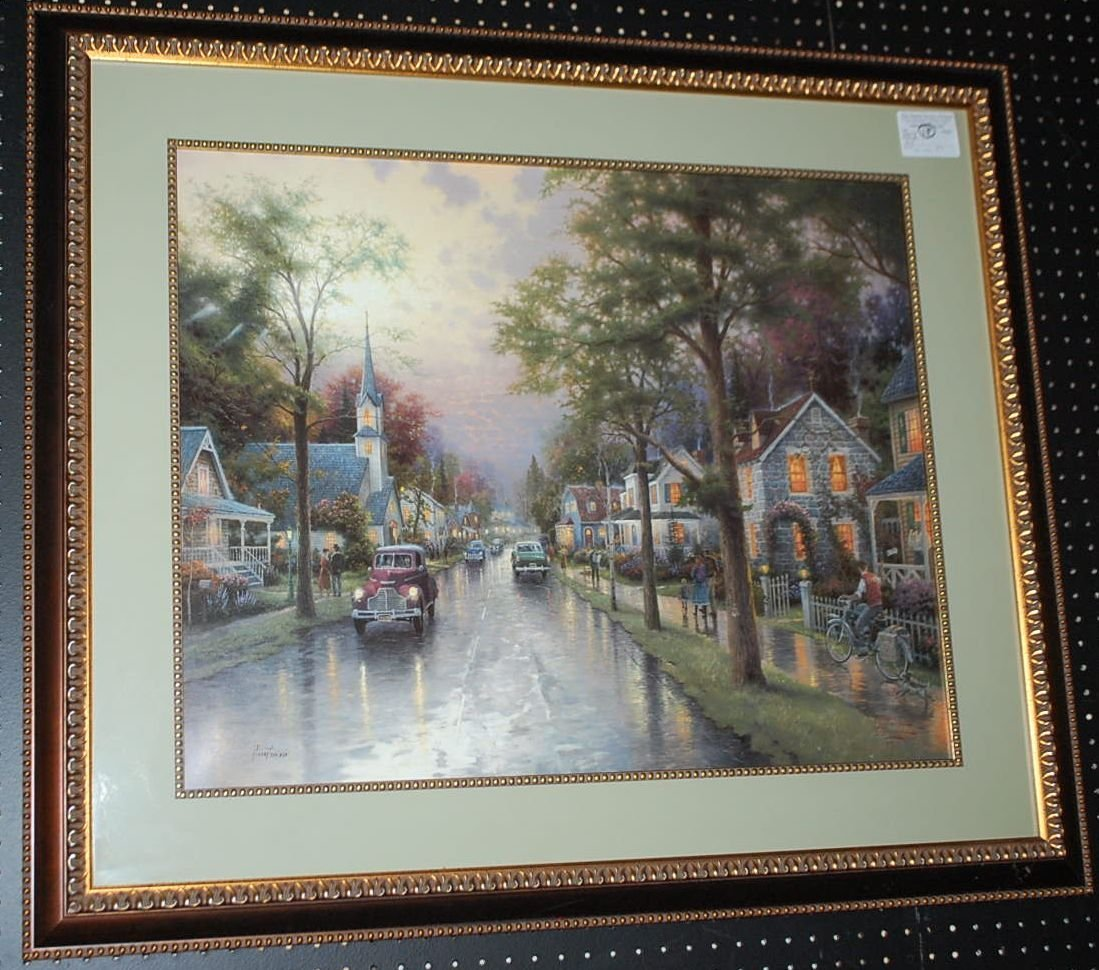 THOMAS KINKADE HOMETOWN MORNING LITHOGRAPH