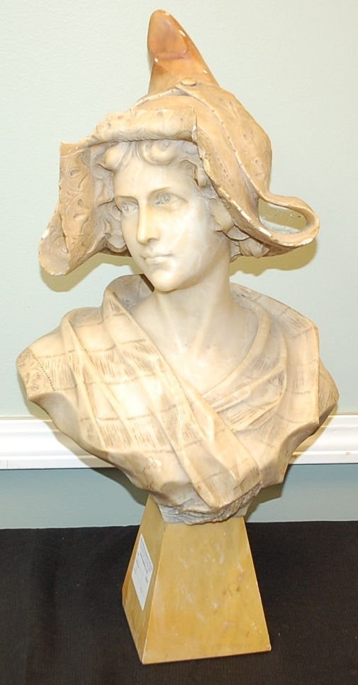 ANTIQUE MARBLE BUST OF YOUNG MAIDEN