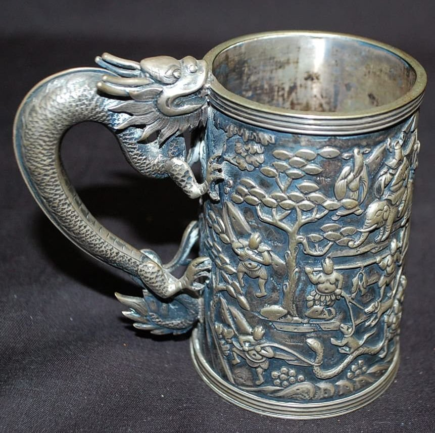 EARLY ORIENTAL SILVER DRAGON CUP