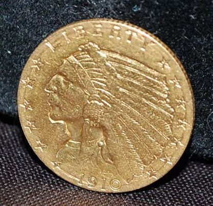 US 1910 TWO/HALF DOLLAR INDIAN HEAD GOLD COIN