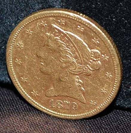 US 1879-S FIVE DOLLAR GOLD COIN