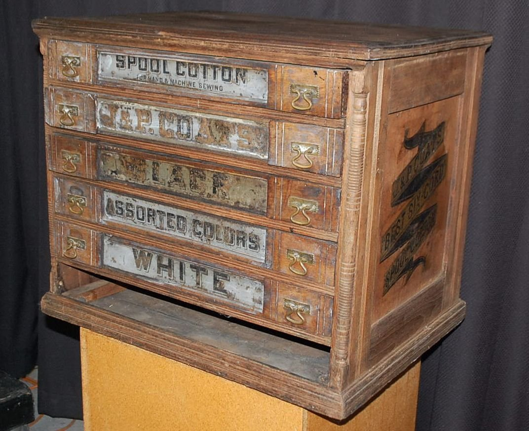 EARLY J P COATS COUNTRY STORE SPOOL CABINET