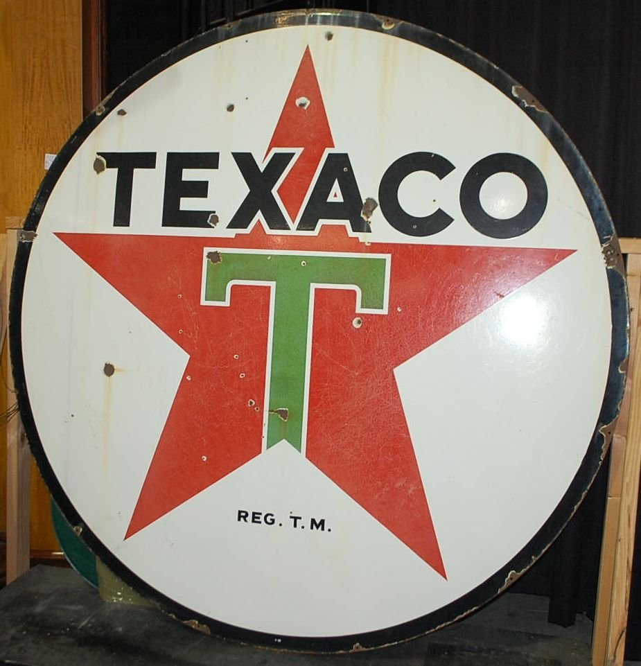 LARGE PORCELAIN DOUBLE SIDED TEXACO SIGN