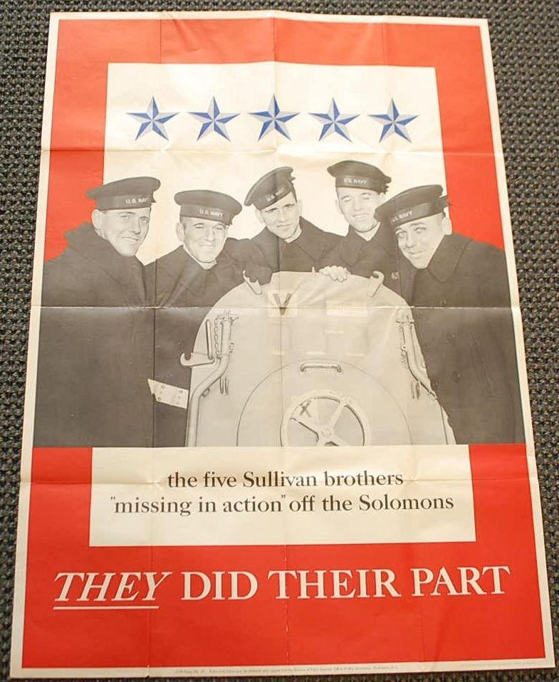 VINTAGE MISSING SULLIVAN BROTHERS WAR POSTER