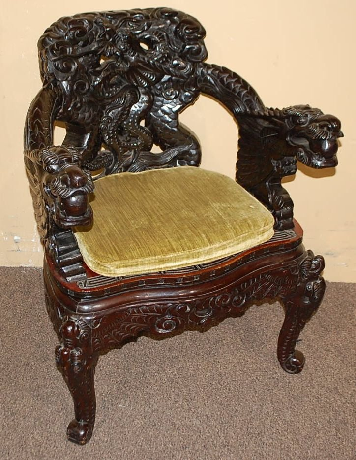 CARVED ORIENTAL DRAGON CHAIR