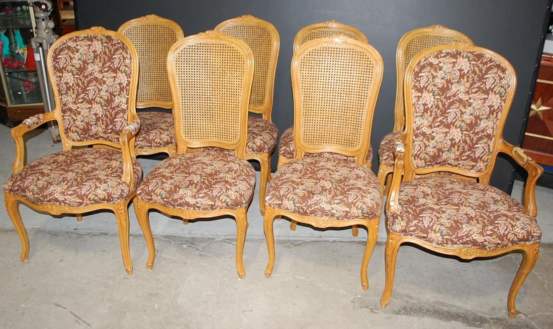 SET OF EIGHT  COUNTRY FRENCH DINING CHAIRS