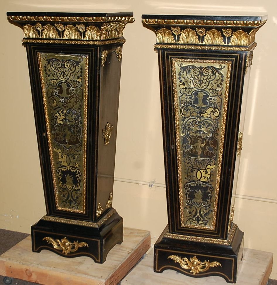 PAIR OF EARLY BOULLE & EBONY PEDESTALS