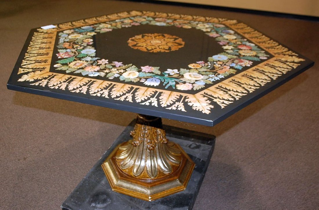 CUSTOM PAINTED OCTAGON CENTER TABLE