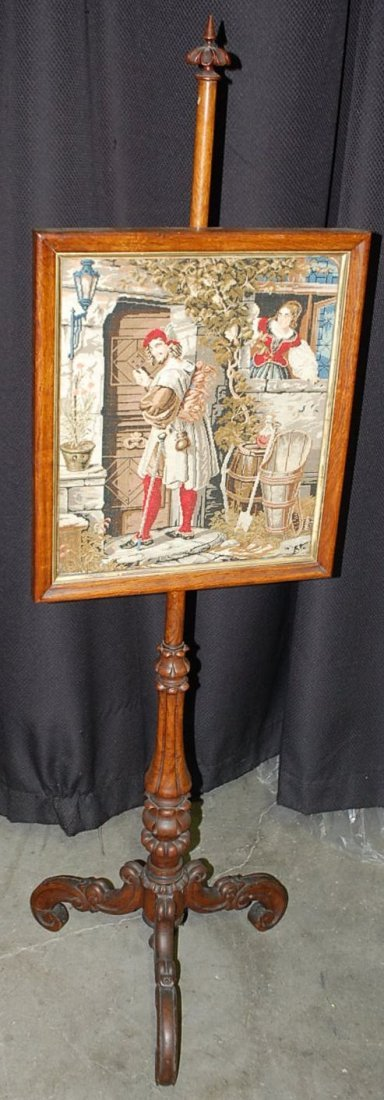 FRENCH ADJUSTABLE NEEDLEPOINT FIRE SCREEN