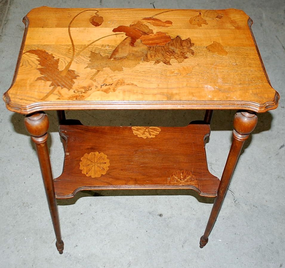 INLAID TWO TIER TABLE SIGNED GALLE
