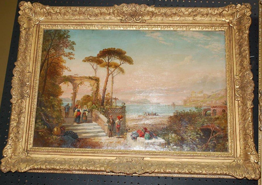 A.CALLCOTT LAKE SCENE PAINTING DATED 1856