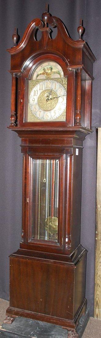 Fine Nine Tube Mahogany Grandfather Clock