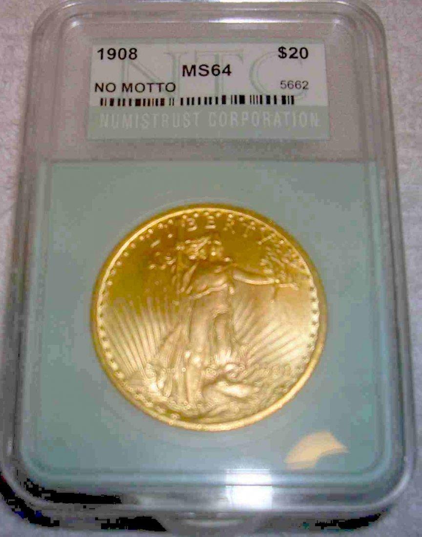 1908 ST GAUDENS PHILADELOPHIA MS 64 $20 GOLD COIN