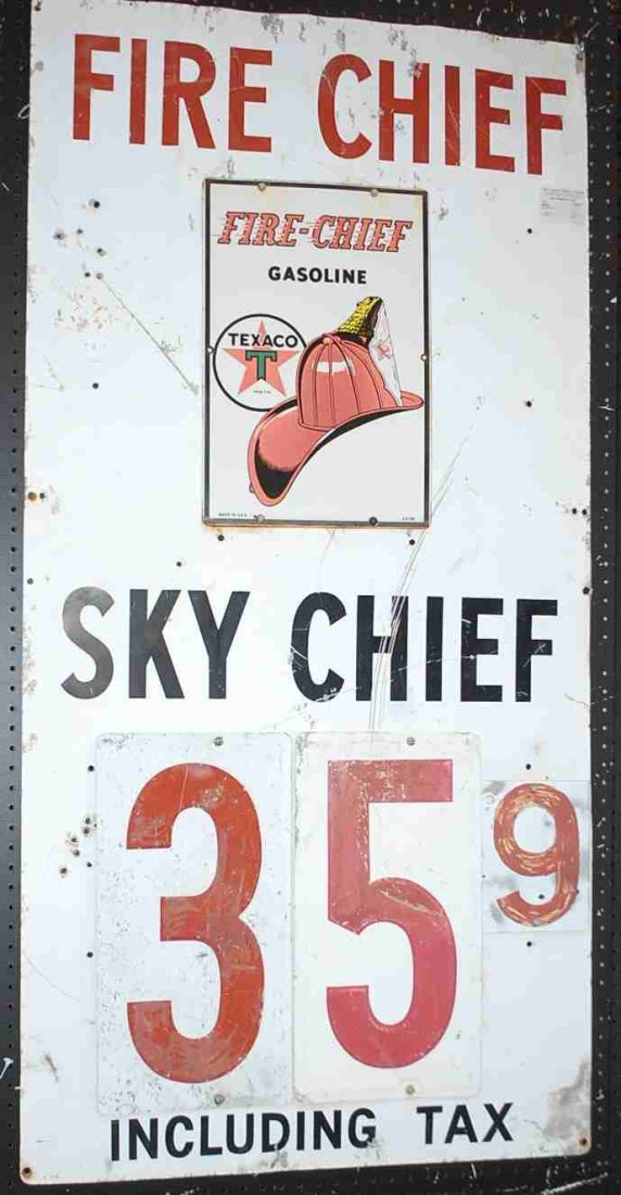 FIRE CHIEF SKY CHIEF GAS SIGN