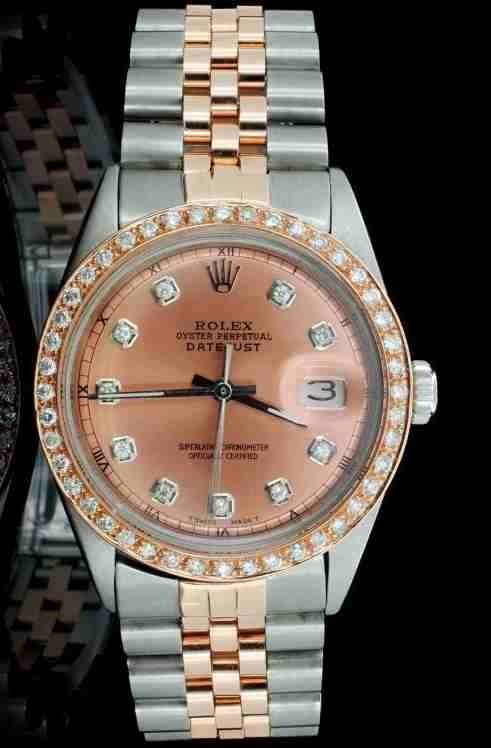 GENUINE ROLEX 18K ROSE GOLD/STAINLESS WATCH W/DIAMONDS