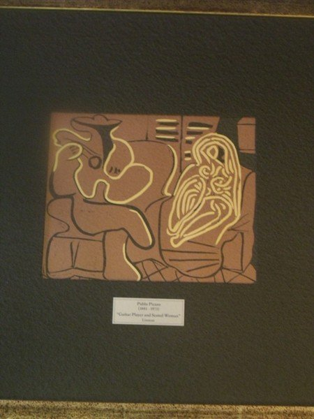 """394: Picasso """"Guitar Player w/Seated Woman"""" Linocut"""