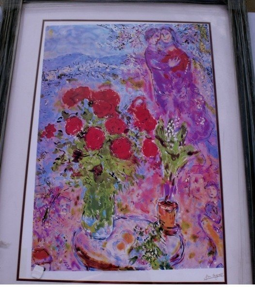 """74: CHAGALL """"RED BOUQUET W/LOVERS"""