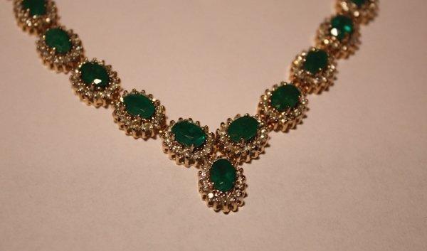 95: Emerald & Diamond Necklace - 35+ CTW - 2