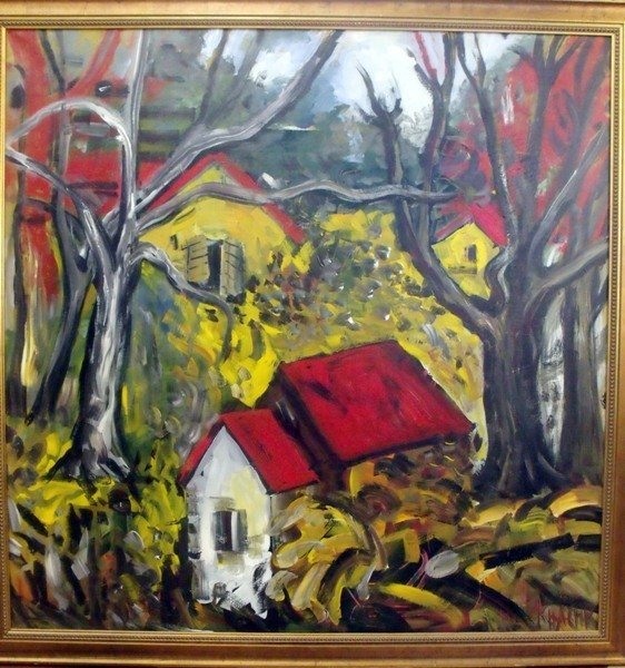 "130: KHACHER ""RED ROOF HOUSES I"" RARE"