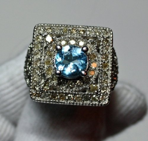 11: Topaz & Diamond Ring  - 1ct Topaz w/ 1.50ctw Diam.