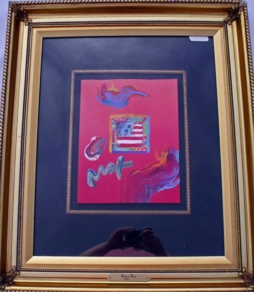 "22: PETER MAX ""FLAG"" ORIGINAL MIXED MEDIA"