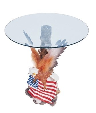 788: Fiber Optic Bald Eagle w/American Flag End Table