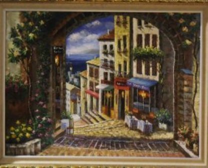 "1: ""CITY VIEW"" ON CANVAS BY SPONE GILDED FRAME"