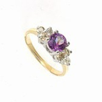 4: 1 ctw Amethyst & Diamond 10K Gold Ring