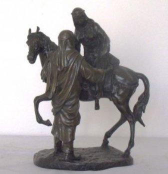 15: ARABIANS W/HORSE BRONZE SCULPTURE